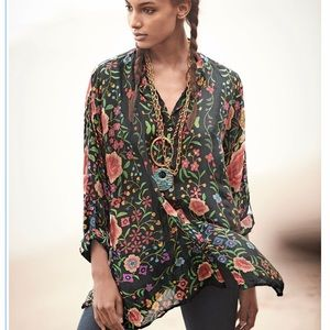 Johnny Was Emby Button-Front Floral-Print Blouse